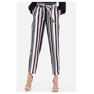 Express Striped High Waist Paper Bag Pants